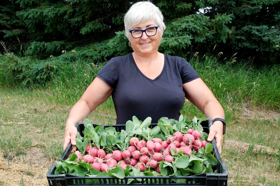 MWFF pioneering member Leanne helps with the radish harvest